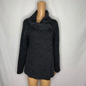 Ellen Tracy Weave Woven Knit Shawl Collar Jacket L